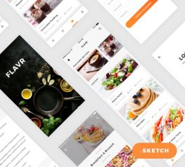 Flavr iOS App UI Kit for Sketch - Modern Food App Design Resource