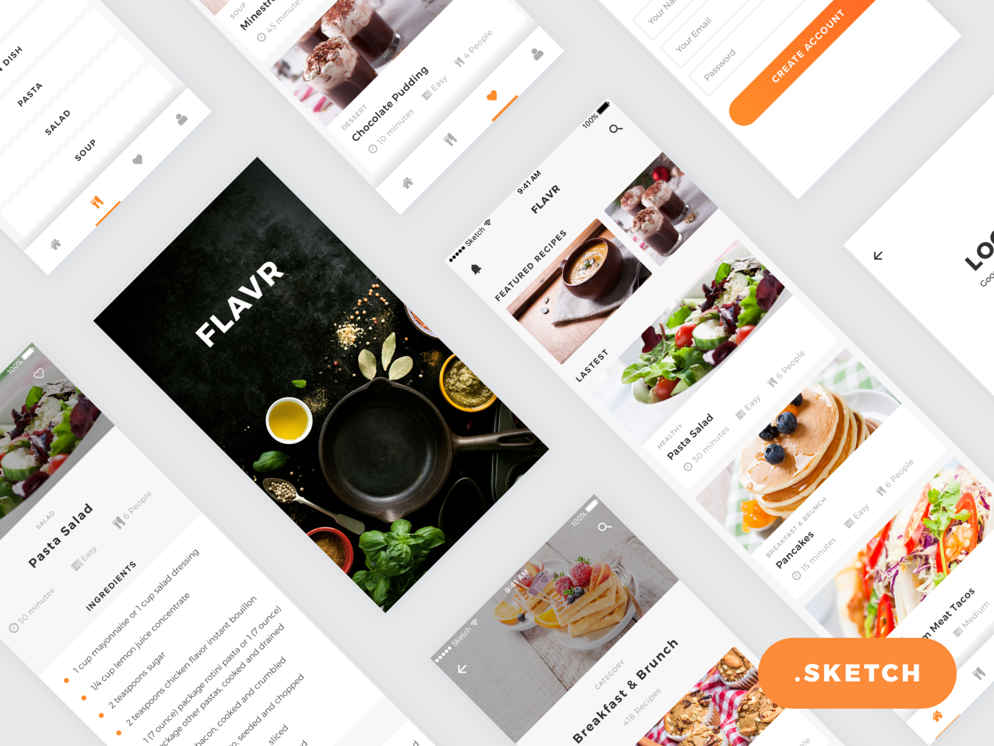 Flavr iOS App UI Kit for Sketch Designers