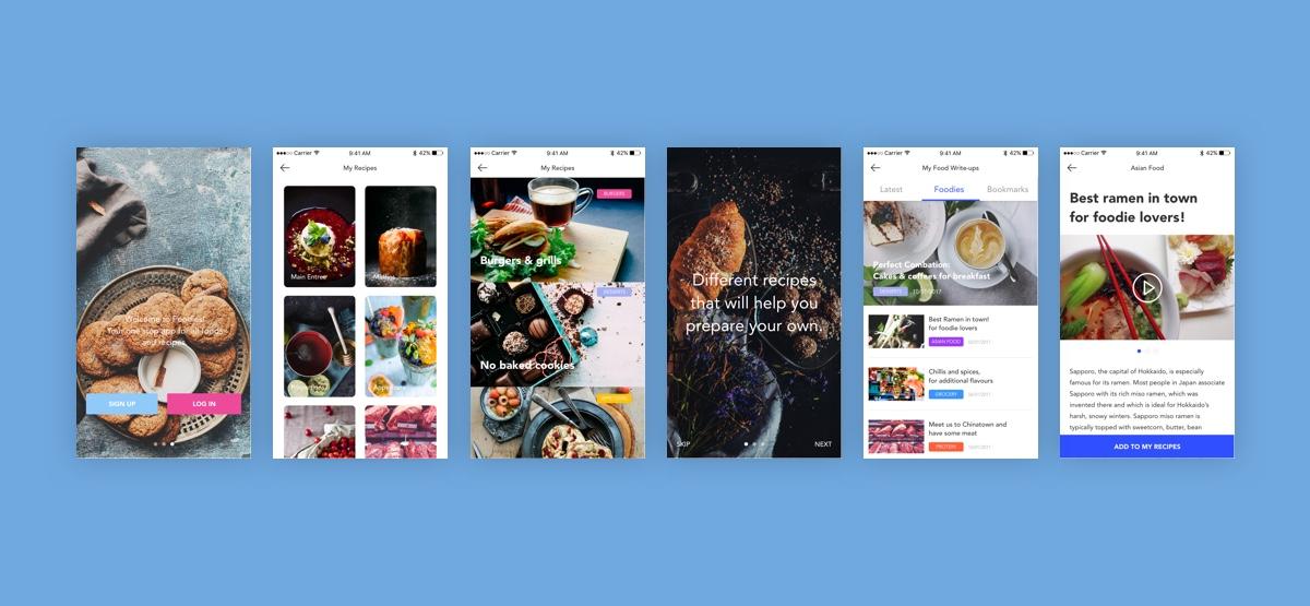 Foodies Free UI Kit for Adobe Xd - 6 Screens UX Resources