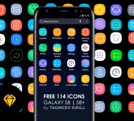 144 Free Icons for Galaxy S8 & S8 Plus - Free Sketch Resource for UI Designers 2017