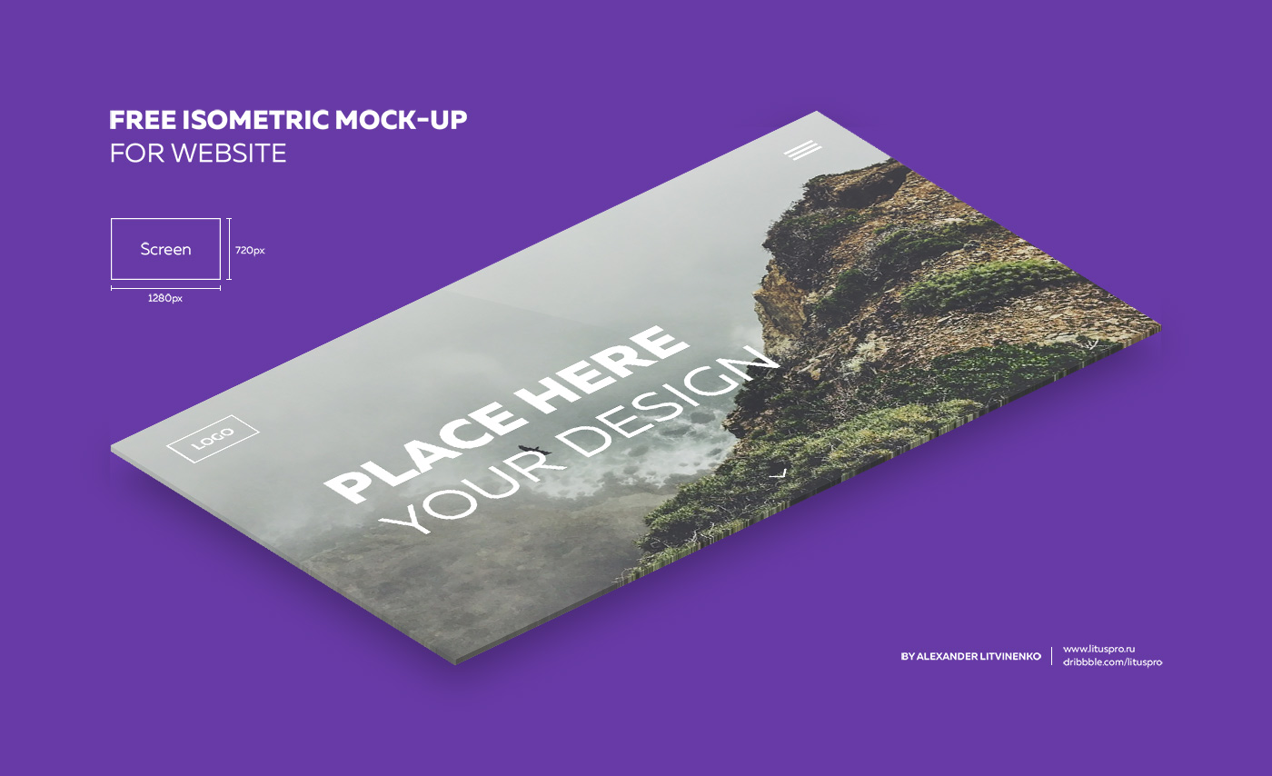 Isometric Website Mockup for Photoshop Designers - Freebies for Web Templates