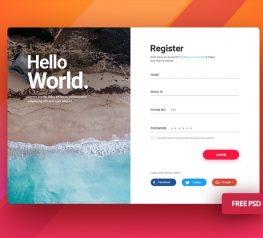 Free Login Screen UI Kit for Photoshop - Register Pop Up Resource