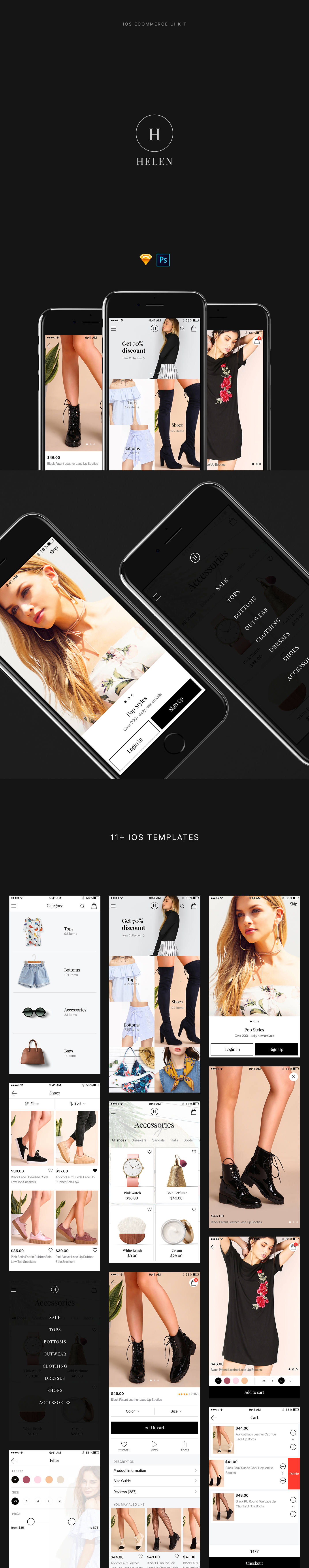 Helen iOS eCommerce UI Kit - Free Sketch and PSD App Design - Download Link