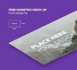 Isometric Website Free Mockup for Photoshop Designers