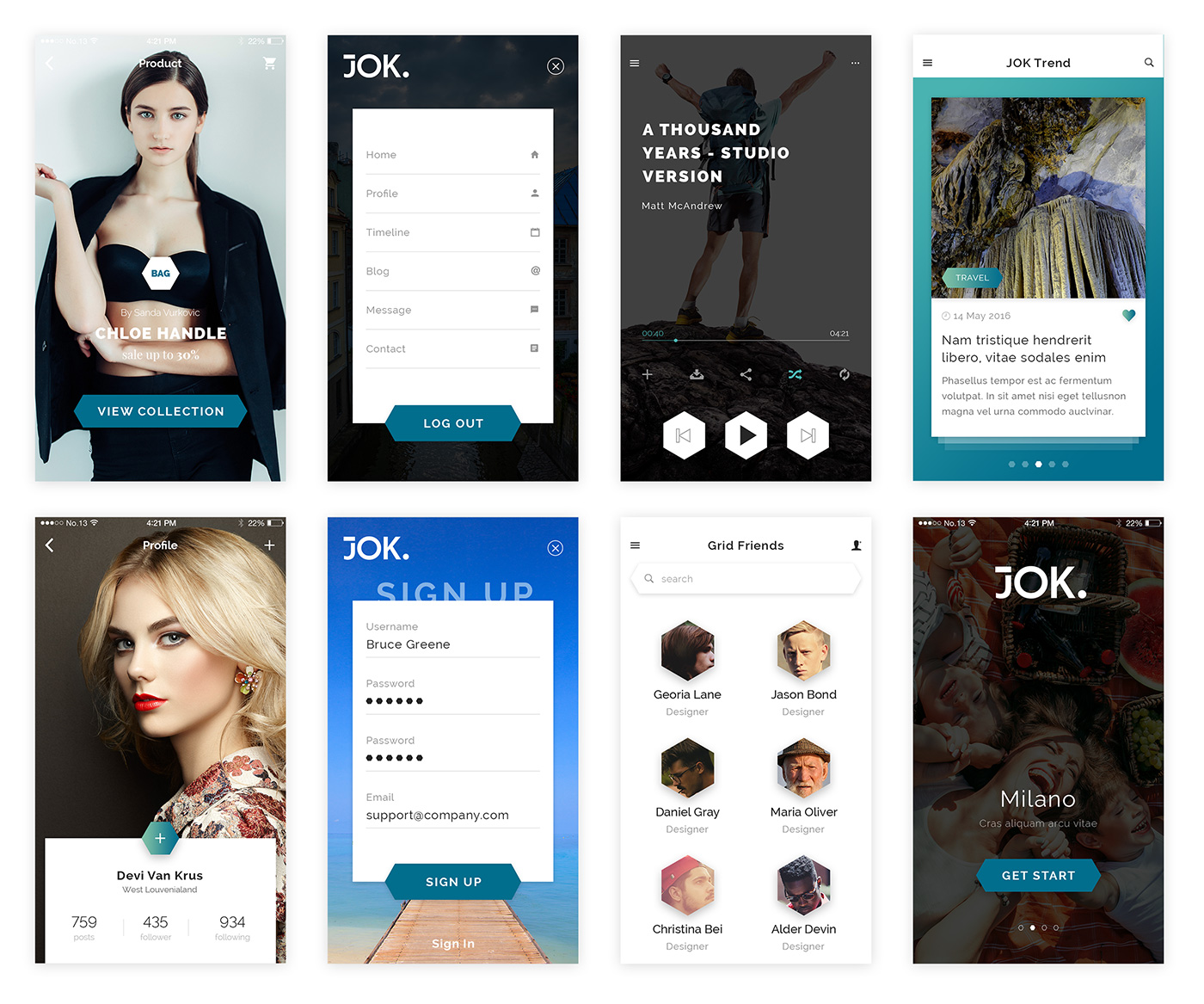 Jok App Design Free UI Kit for Sketch and PSD - Free Fashion Design Theme Mobile App Concept