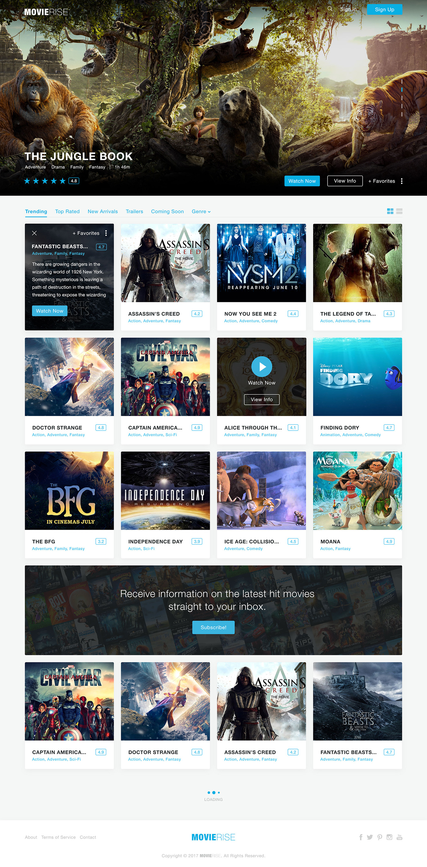 MovieRise Web Homepage for Photoshop Inspired by Netflix