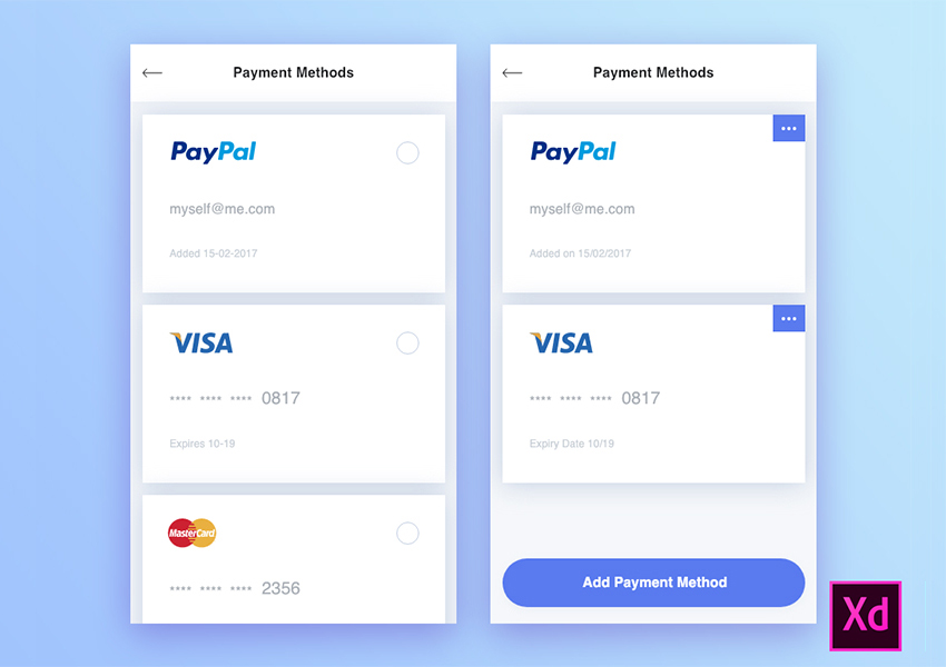 Free Adobe Xd UI Resource for Payment Methods with Visa and Paypal