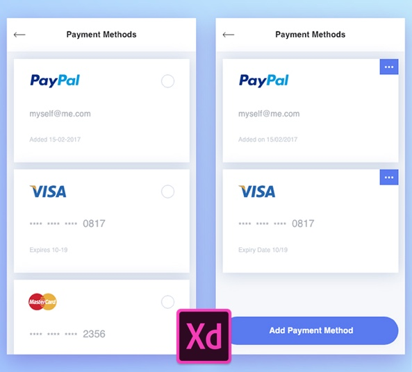 Payment Methods Free UI Kit - 2 Screen for Adobe Xd - FreebiesUI