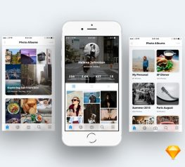 Photo Sharing App UI Kit for Sketch Designers - 3 Free Screens for Speed up your work