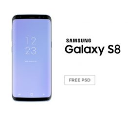Samsung Galaxy S8 Coral Blue Mockup - Free PSD Resource