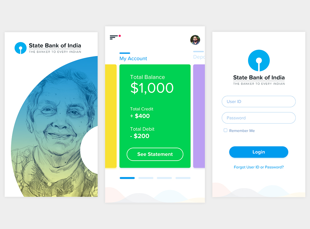 Banking App Concept UI Kit - 3 Screens Adobe Xd Download - FreebiesUI
