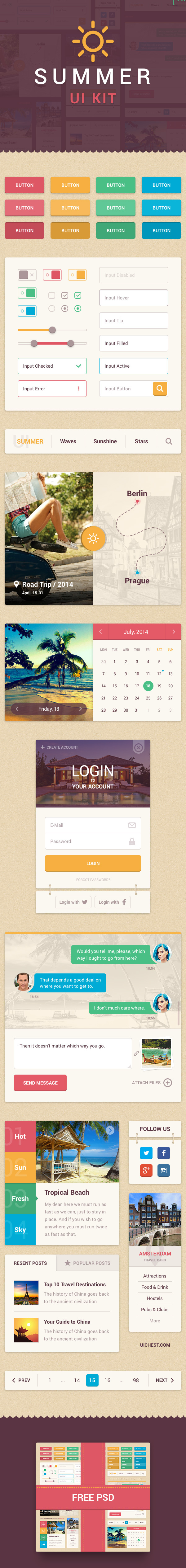 Summer Free UI Kit for Sketch and PSD Designers