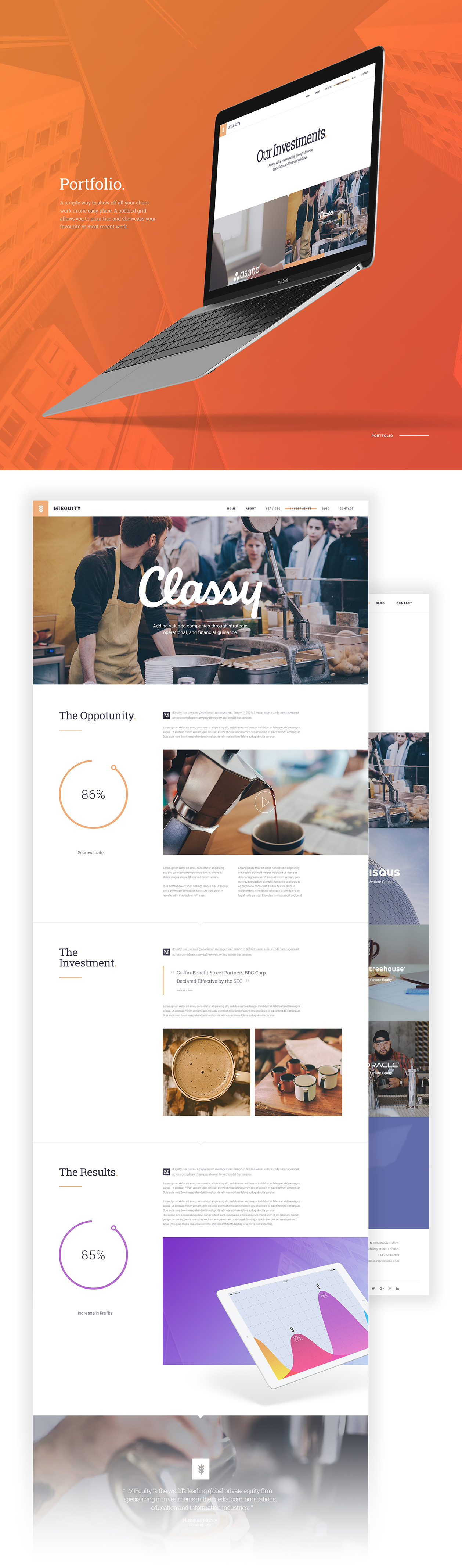 MIEQUITY Web Template Free PSD - Portfolio Page