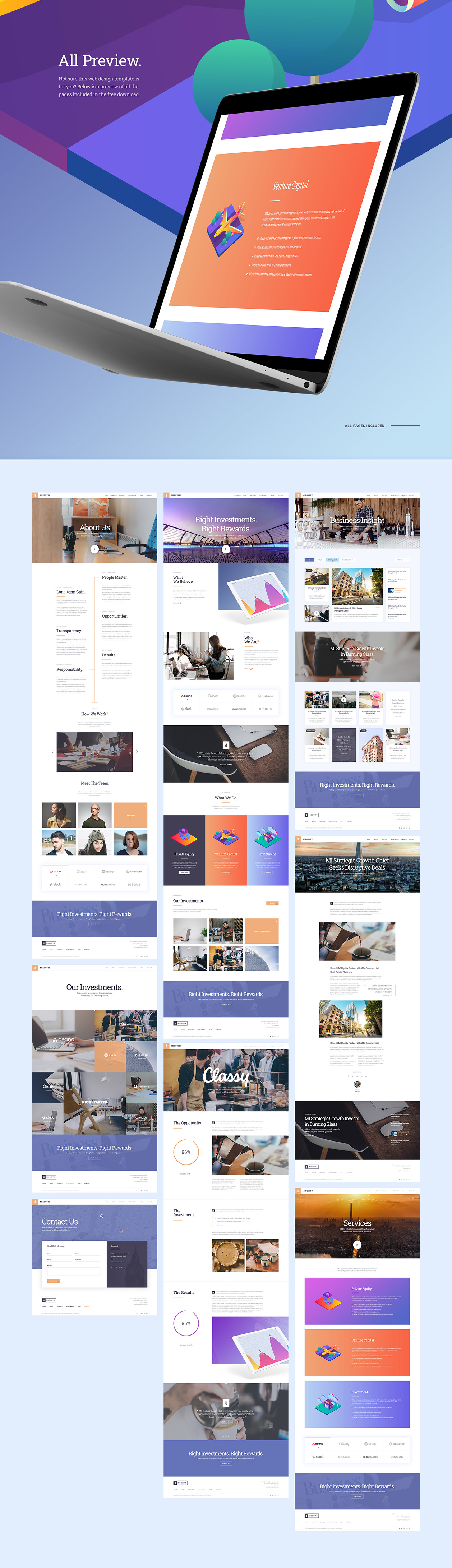 MIEQUITY Web Template Free PSD - All Preview