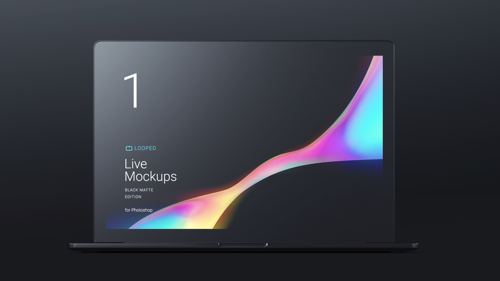 Macbook Black Edition Static Mockups for Sketch and PSD - Modern presentation