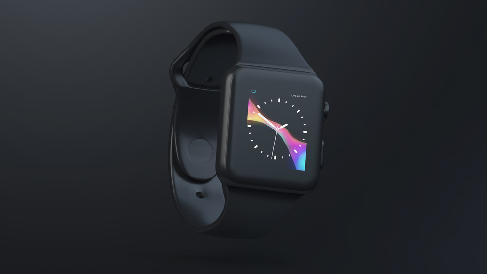 Apple Watch Black Matte Free Mockup for Sketch and PSD - Modern presentation