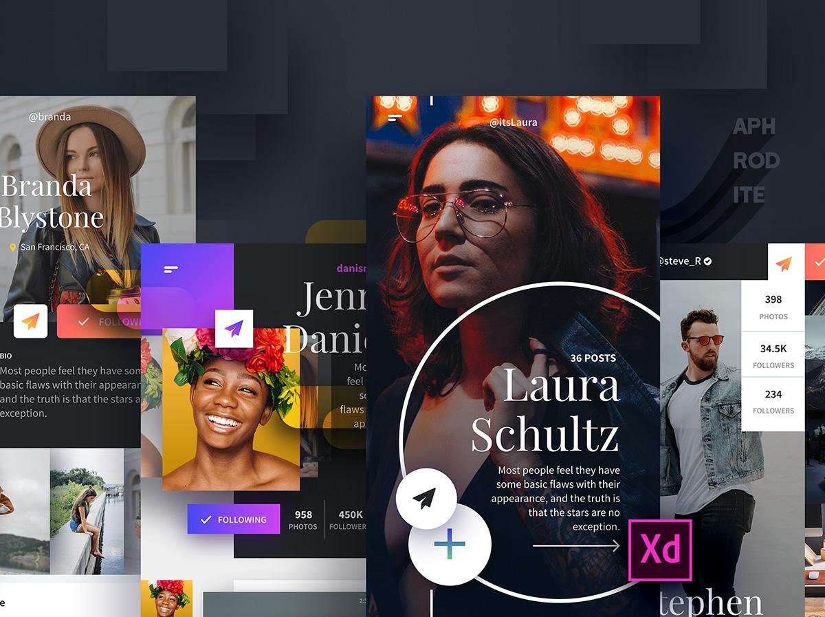 Aphrodite App Design UI Kit for Adobe Xd