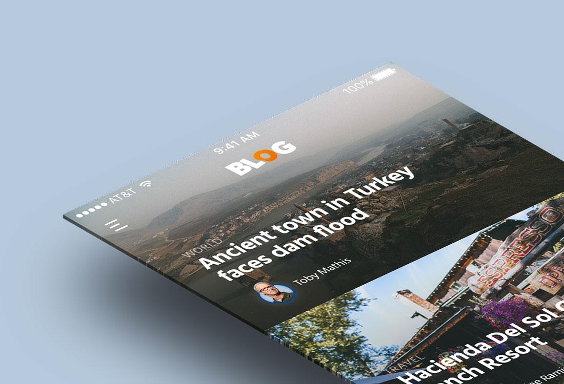 Blog Feed UI Kit App Design for Photoshop
