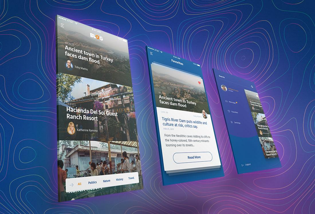 Blog ui kit app desing design concept 10 screens freebie