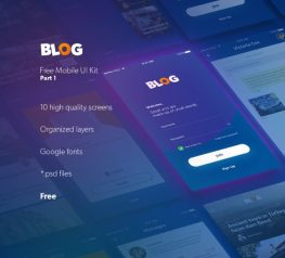 Blog UI Kit App Design for PSD - 10 Free High-Quality Screens