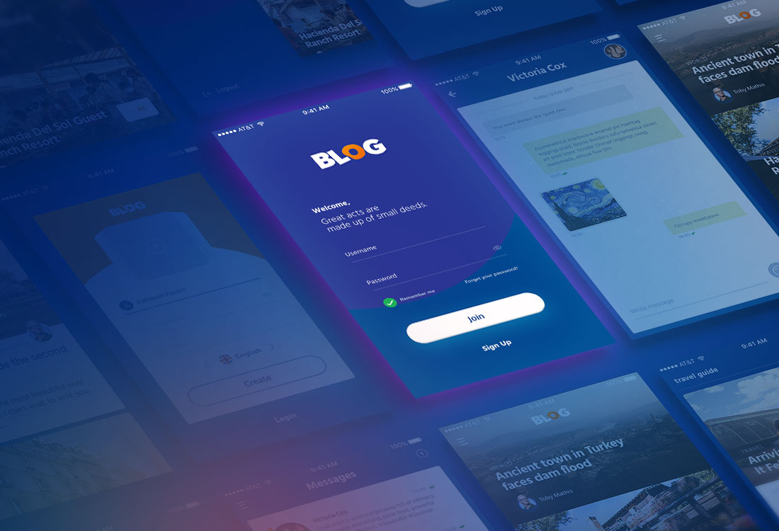 Blog UI Kit App Design for PSD - iOS Newsfeed