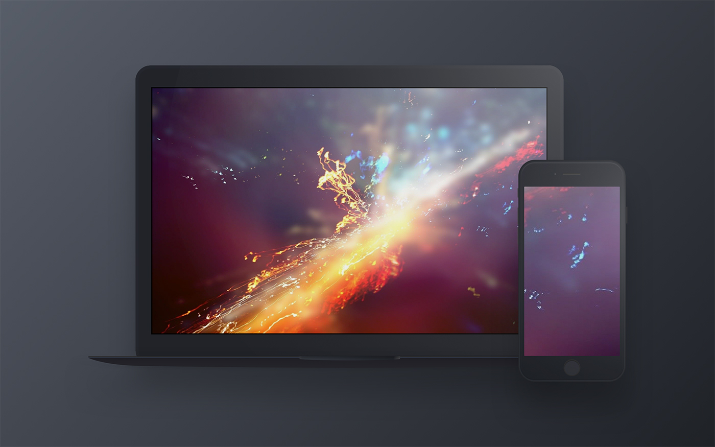 Dark Apple Devices Mockup for Sketch - Macbook & iPhone in front view