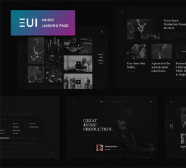 EUI Free Music Landing Page Design For PSD - Dark Template