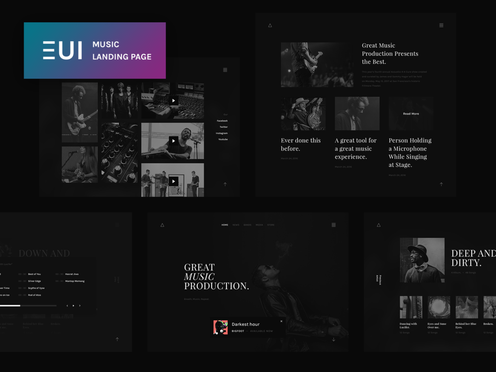 EUI Free Music Landing Page PSD resource
