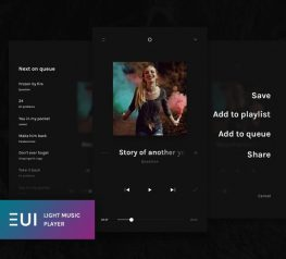 EUI Light Music Player App Design UI Kit for PSD