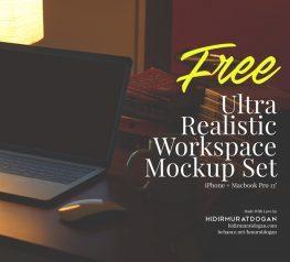 Free Ultra Realistic Workspace Mockup Set - iPhone 7 Plus + Macbook Pro 13'