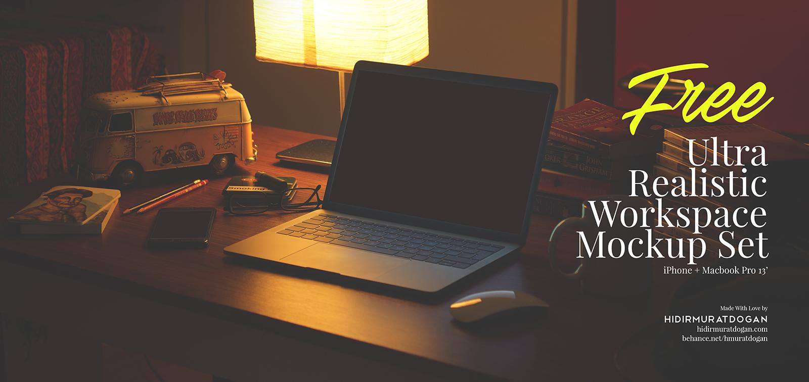 13 Ultra Realistic Mockups - Free Workspace Mockup Set
