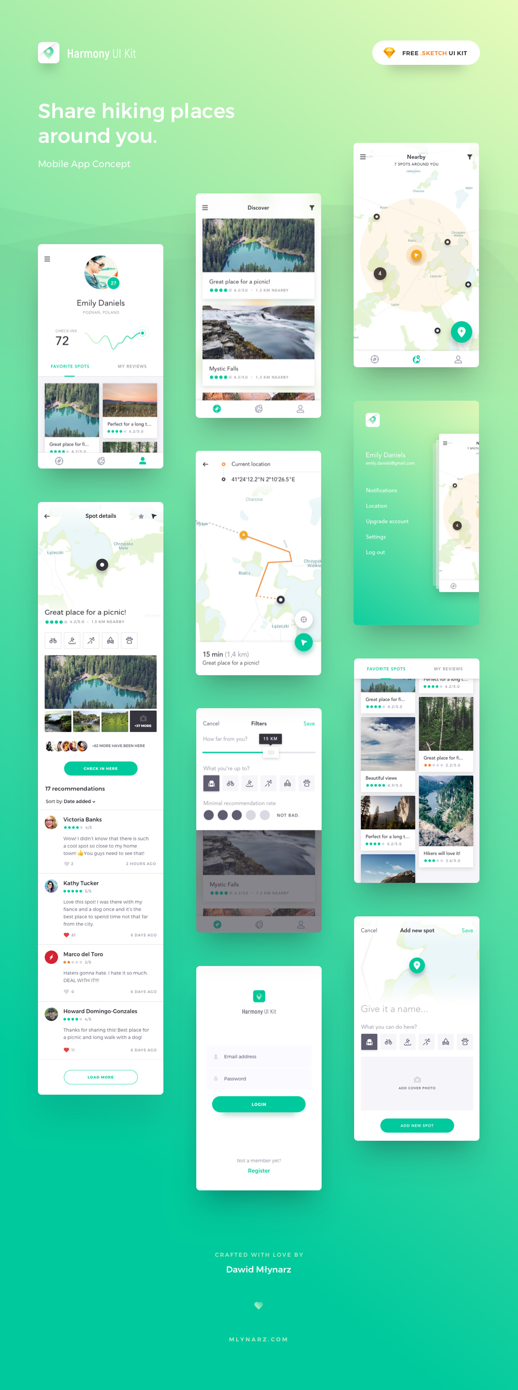 Harmony App Design UI Kit for Sketch - Location Mobile App Concept