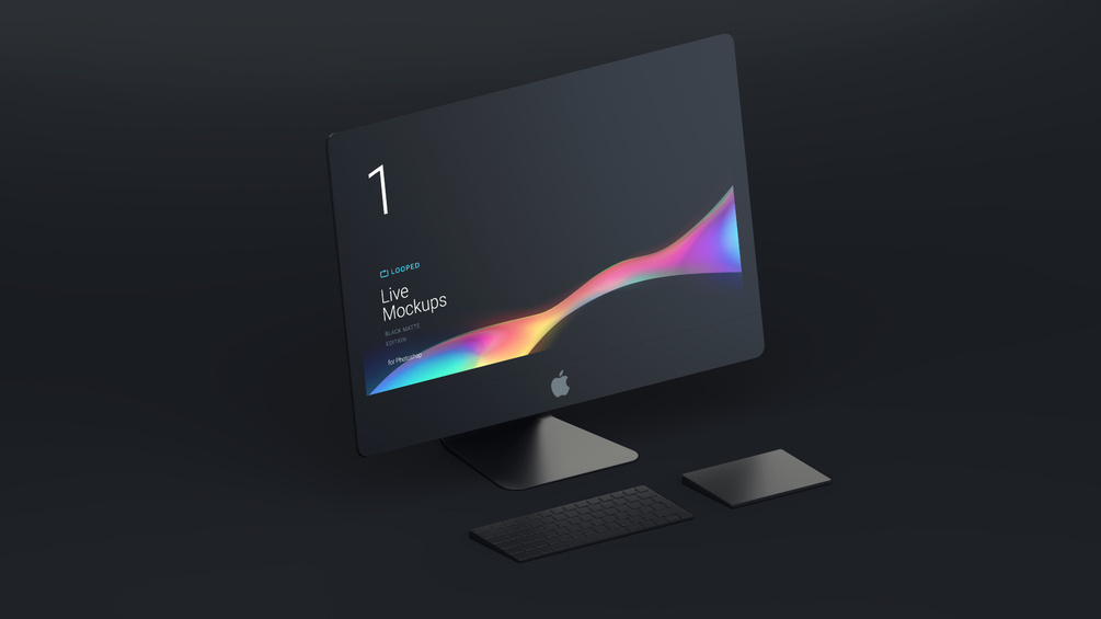 iMac Black Matte Free Mockup for Sketch and PSD - Modern presentation