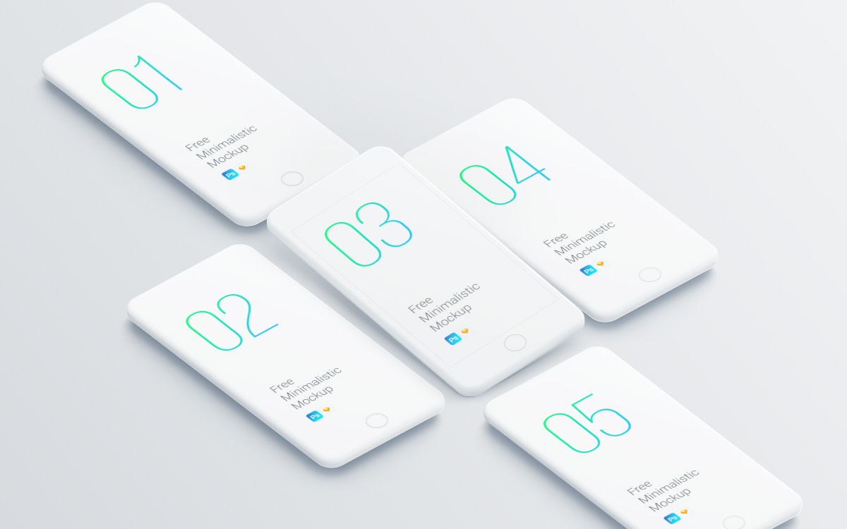 Minimalist iPhone Mockup for Photoshop Designers