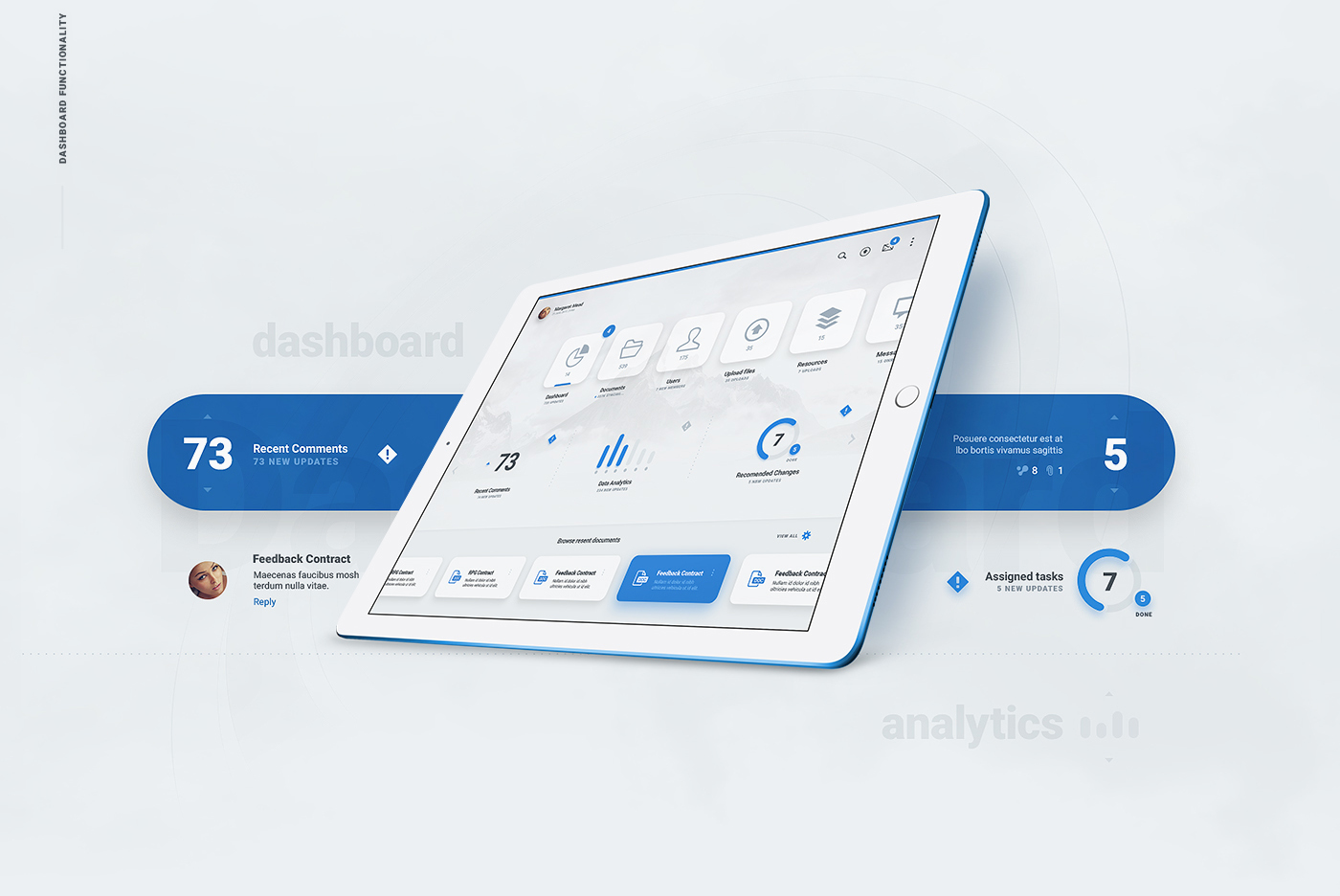 Liquid Pro UI Kit - Tablet Reading Experience PSD - Blue