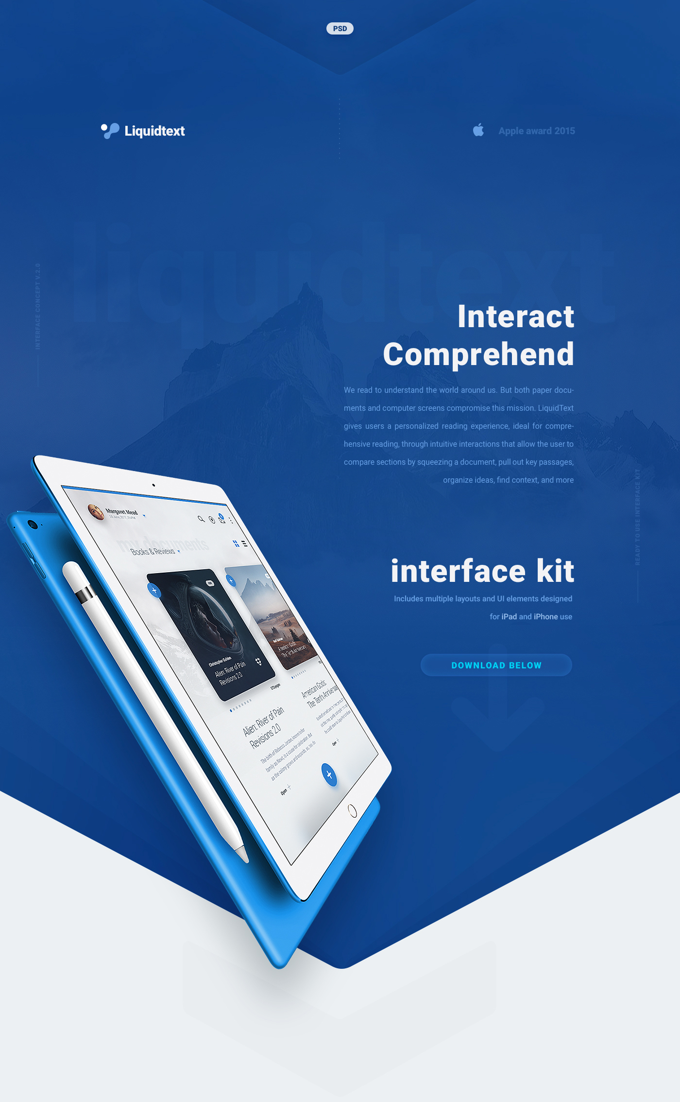 Liquid Pro UI Kit App Design - Reading Interface for iPad and iPhone - Free PSD Download
