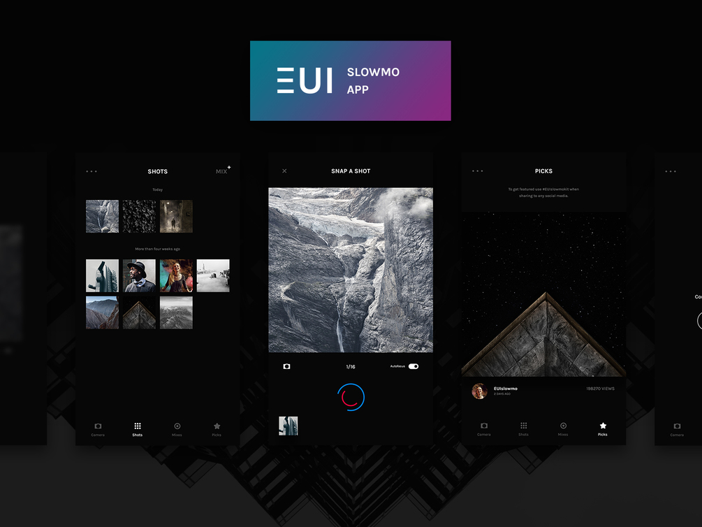 EUI Slowmo App Design UI Kit for PSD - Free Download Dark Kit