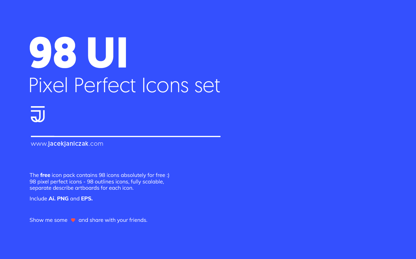 98 UI Pixel Perfect Icons Set for AI Designers