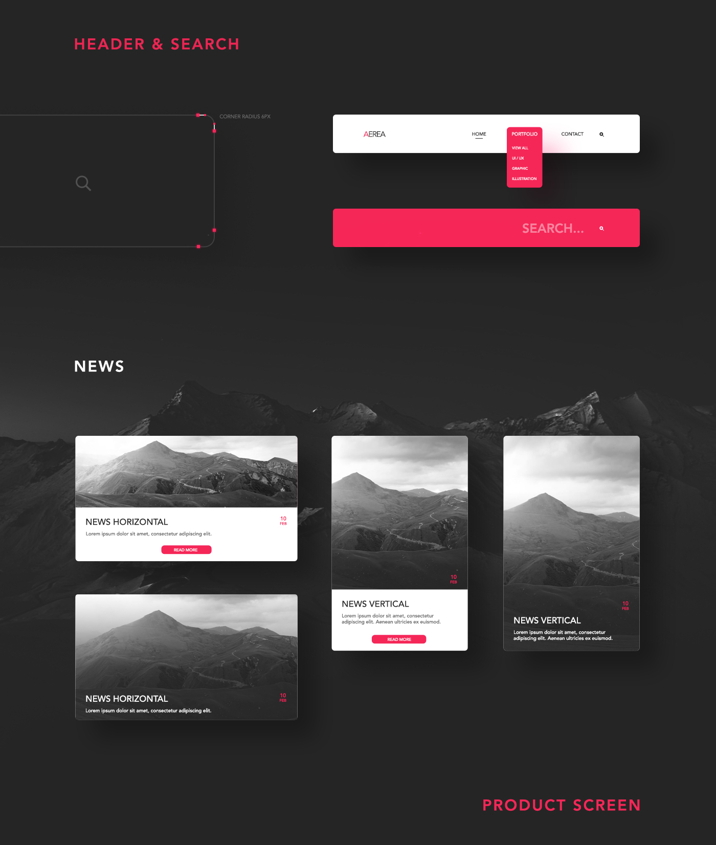 Product Screen - Aerea Free UI Kit for PSD