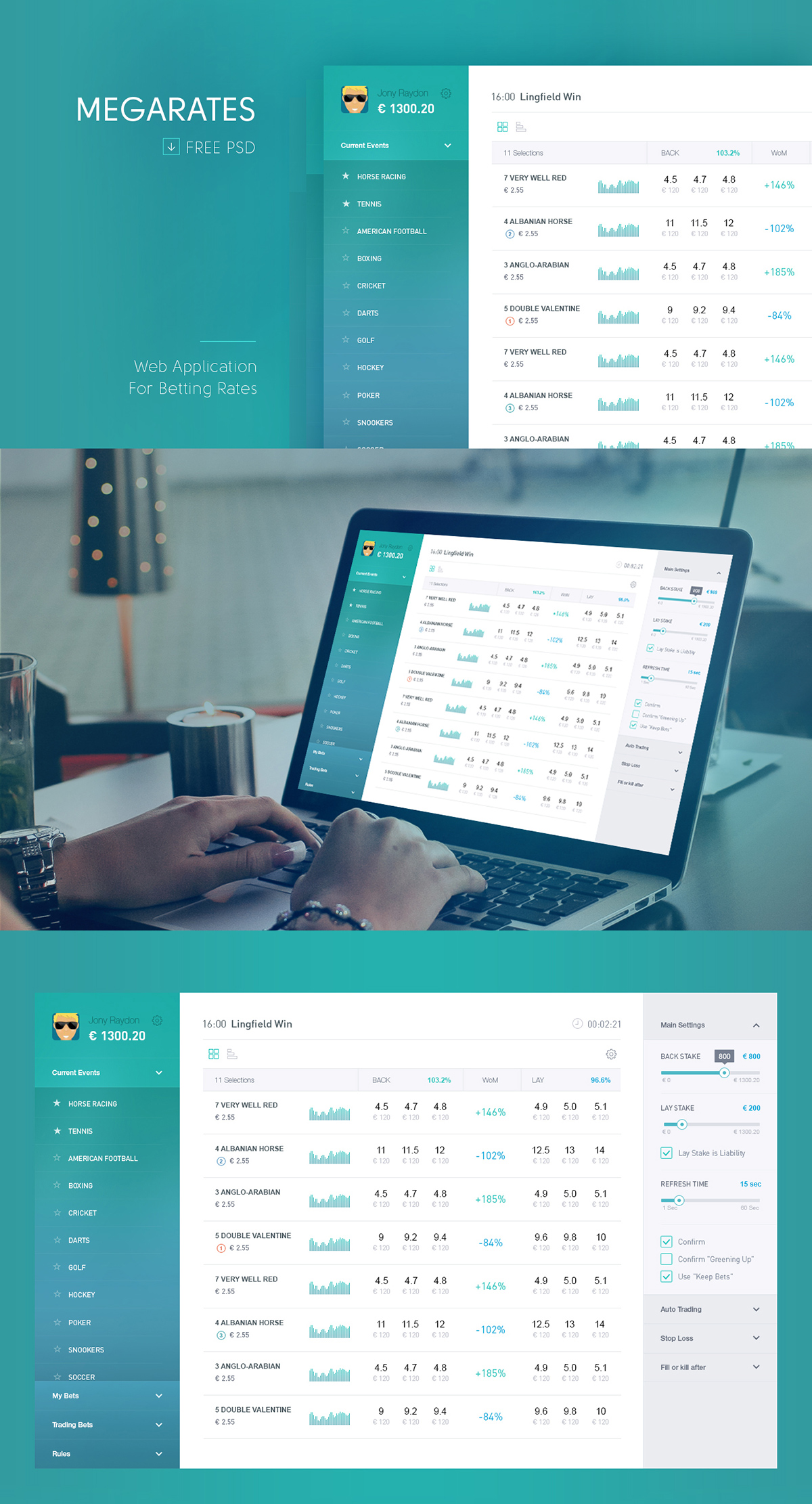 Megarates Betting Web App for PSD