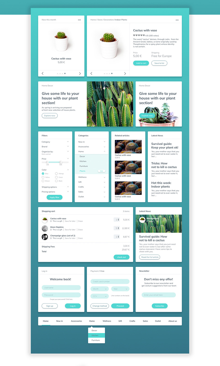 Cactaceae Free Web UI Kit - Adobe Xd Freebie