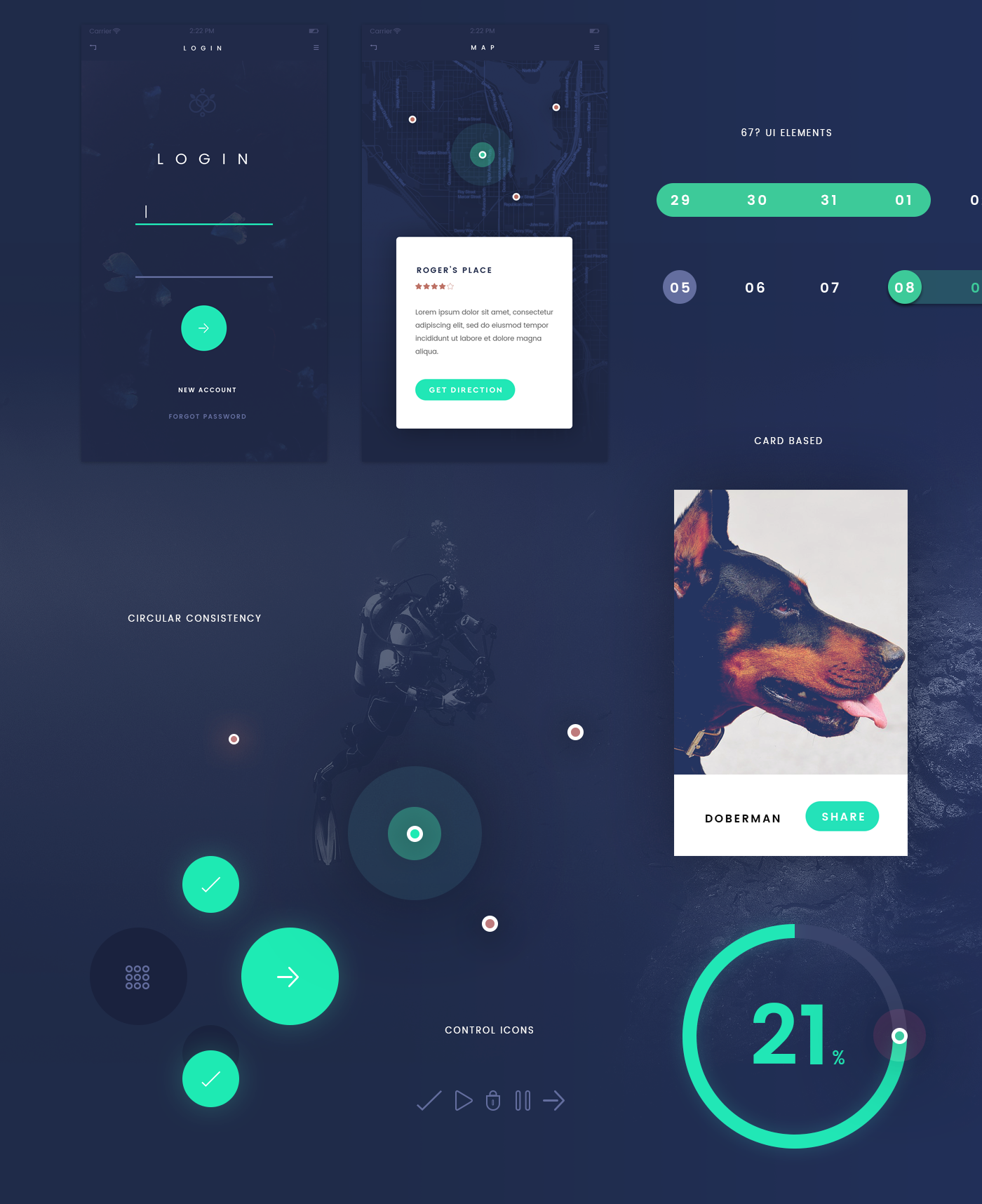 Deep Blue UI Kit App Design for Photoshop