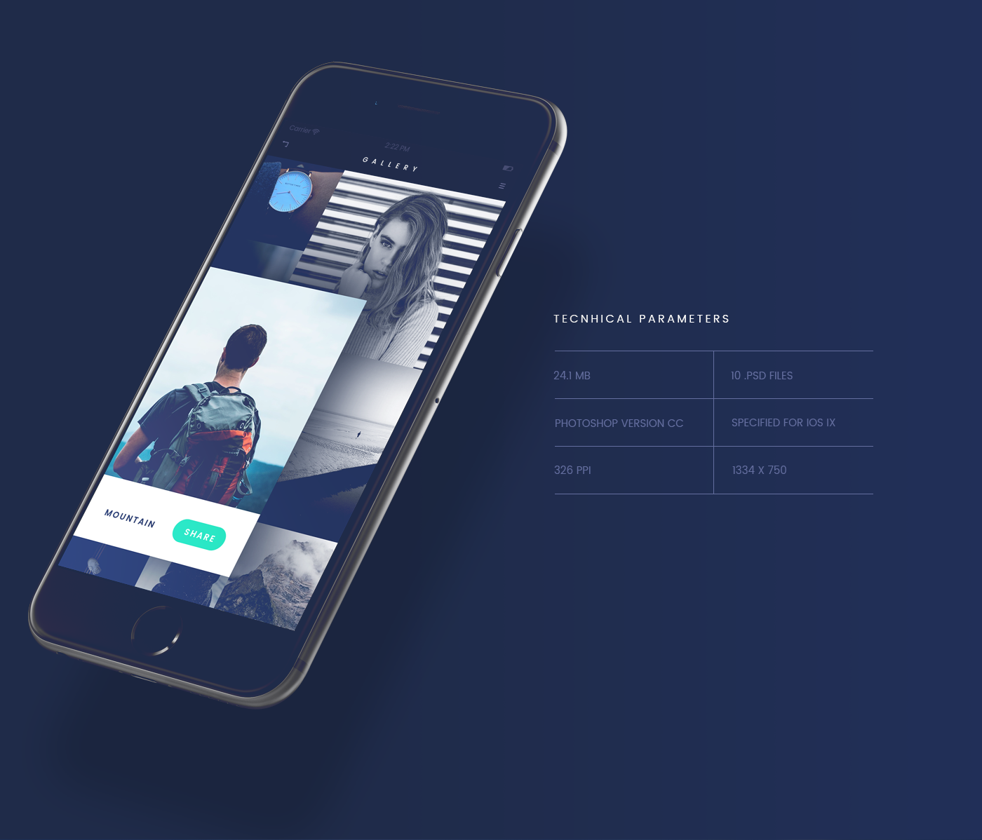 iOS & Android UI Kit App Design for PSD - Fade