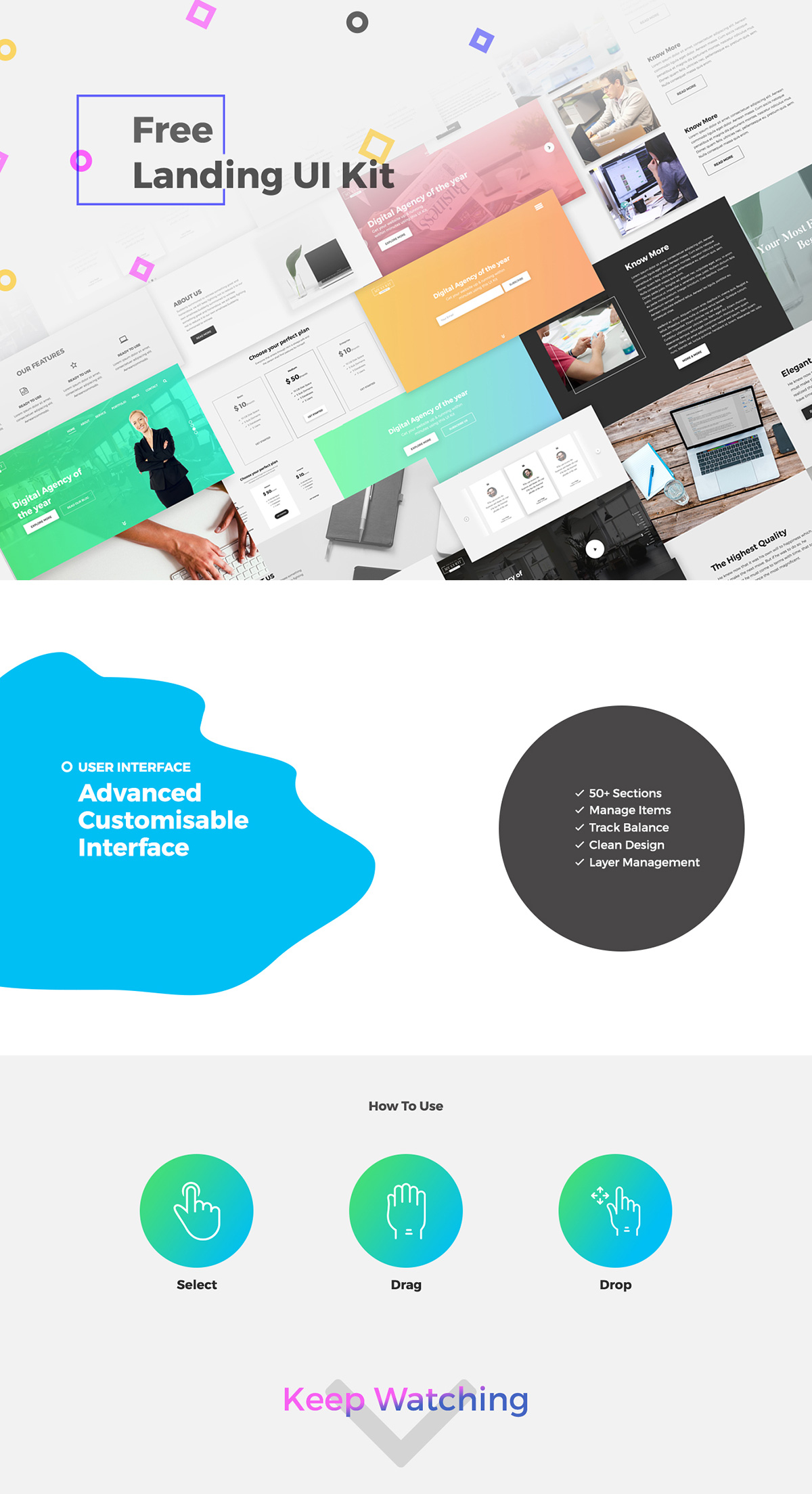 Free Landing Page UI Kit for PSD - Clean design