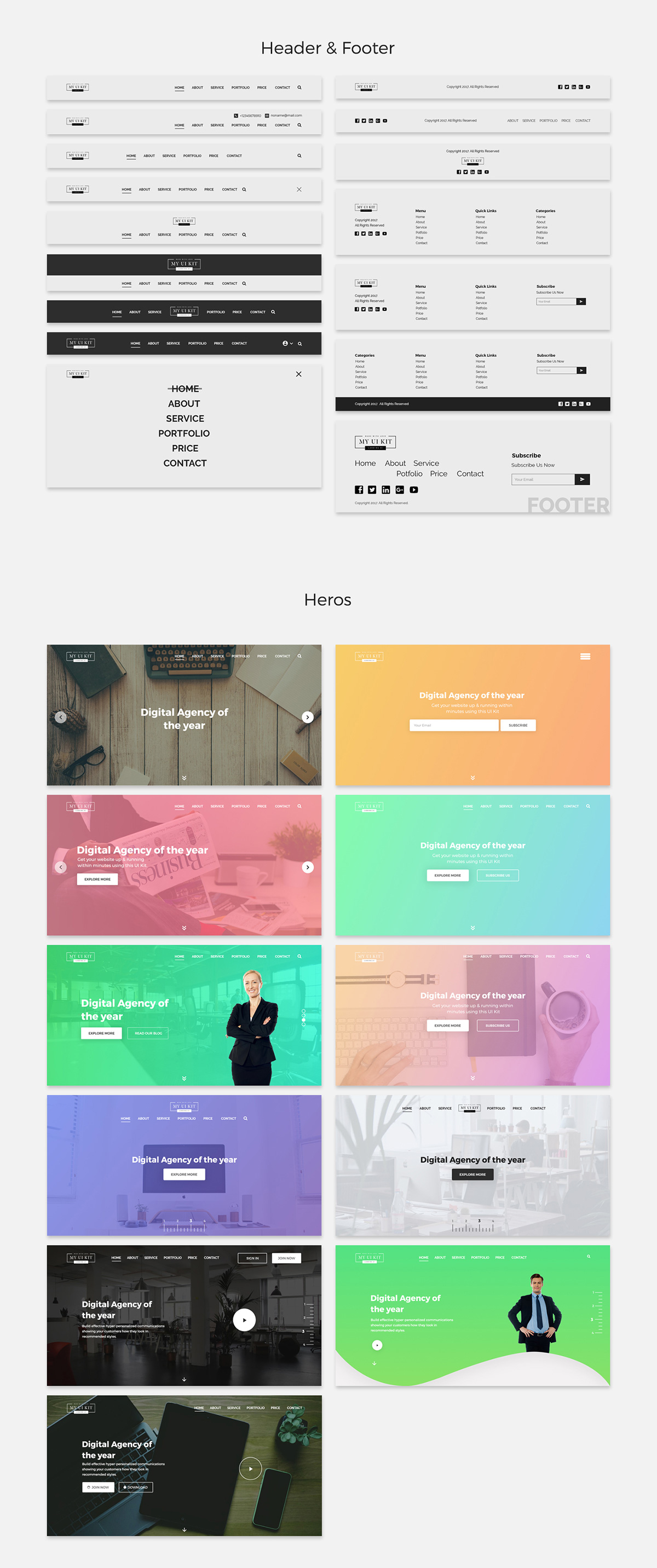 Free Landing Page UI Kit for PSD - Layer managment