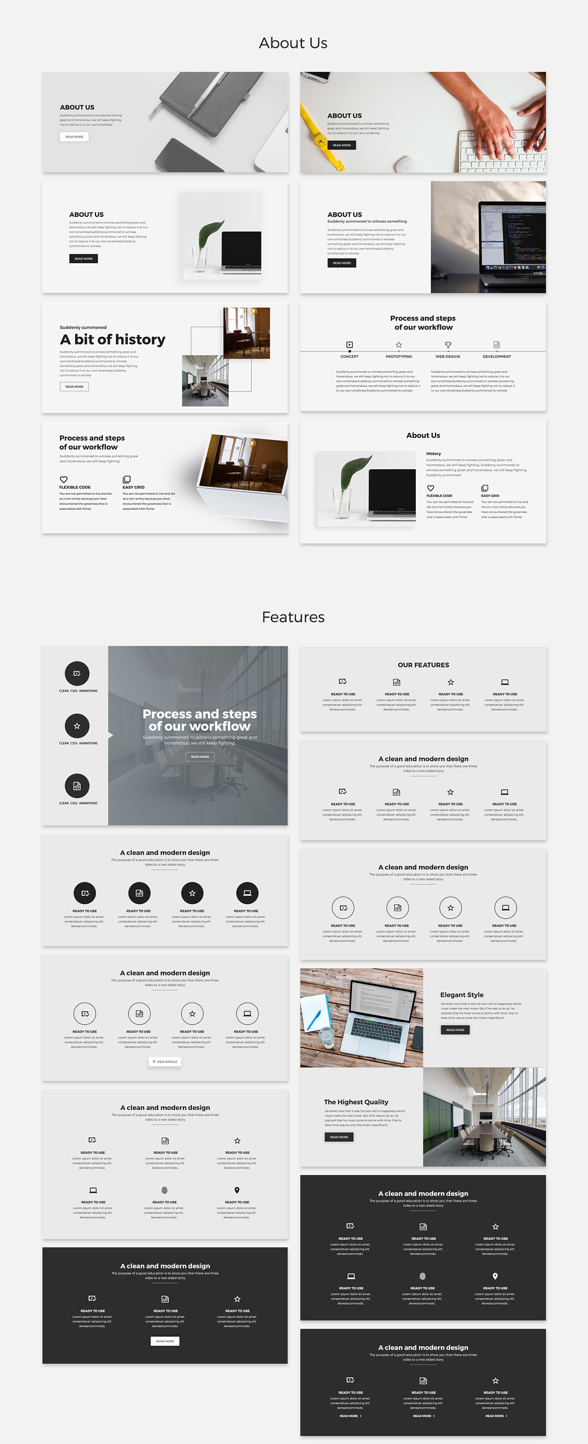 Free Landing Page UI Kit for PSD - About us section