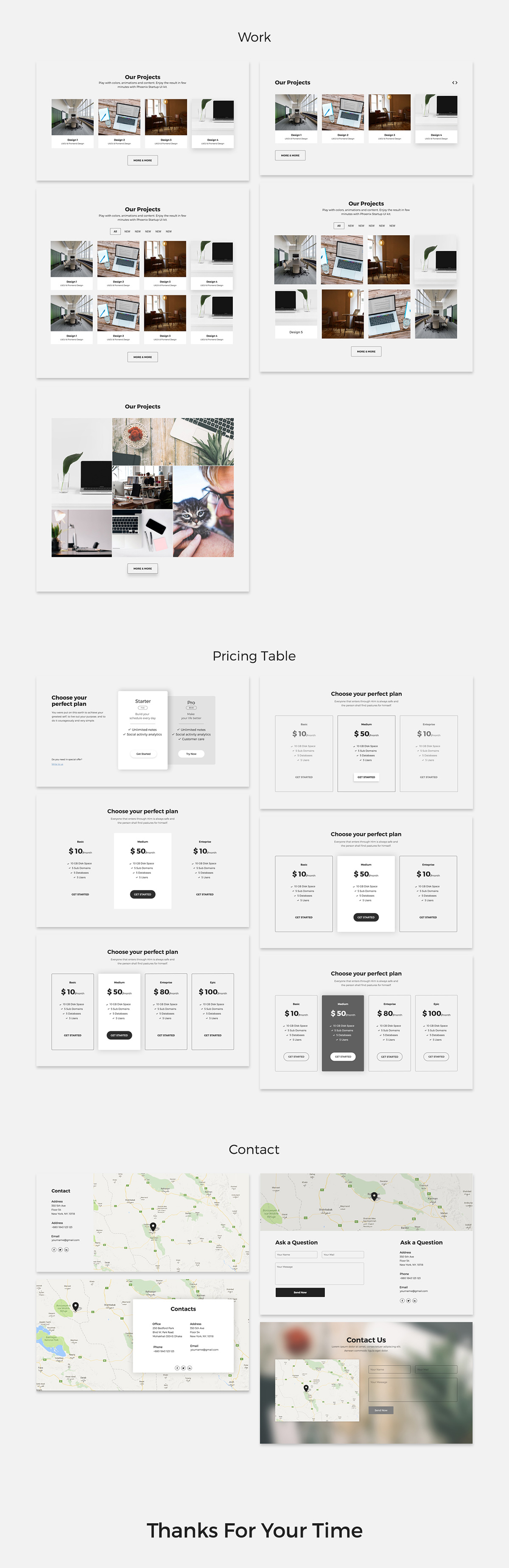 Free Landing Page UI Kit for PSD - Work, Map & Contacts