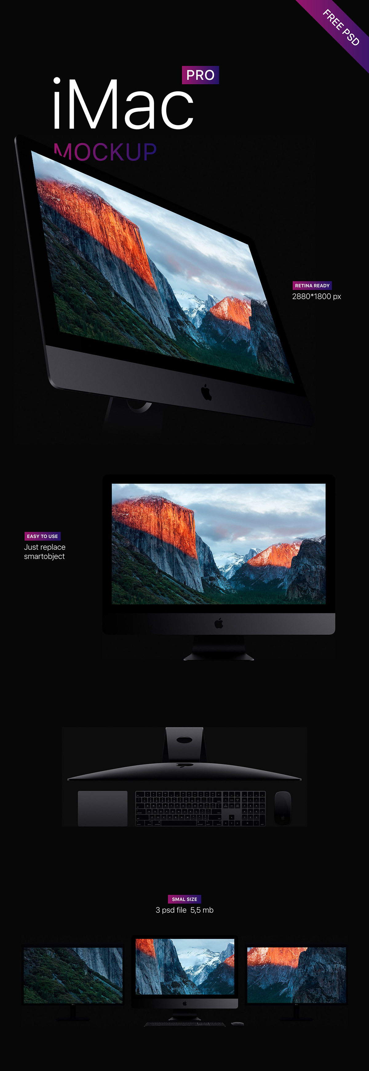 3 iMac Pro Free Mockups 2017 - Download for Free - 3 files