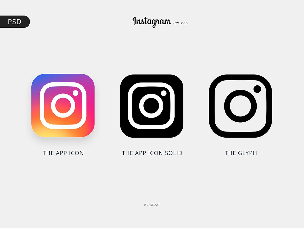 Instagram 3 Versions of the new Logo in PSD
