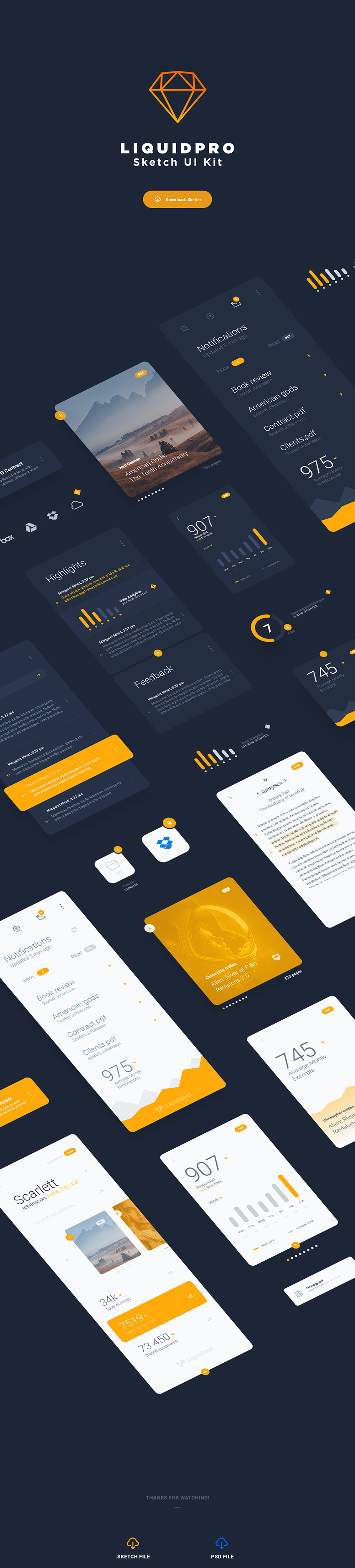 LiquidPRO Free Sketch UI Kit - great reading experience app design